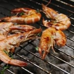 Delicious looking prawns on barbecue